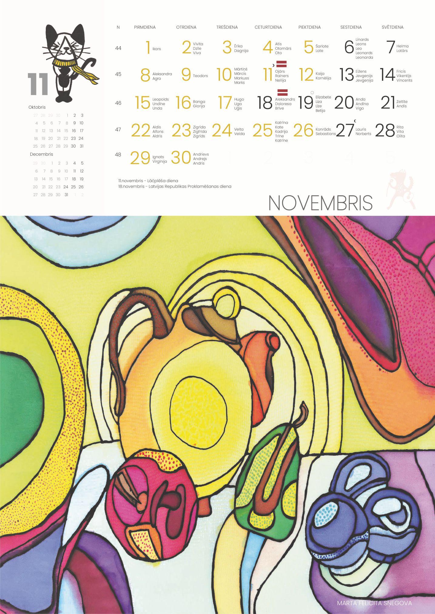2021. gada kalendārs ar Balvu Mākslas skolas audzēkņu darbiem
